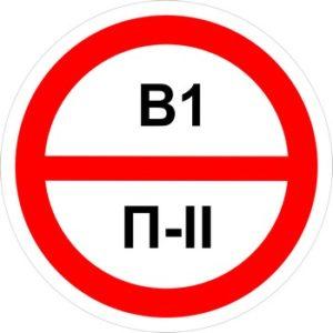 Знак категорийности помещений в1-п2